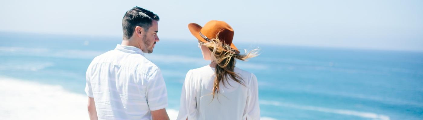 Liz and Alex on a beach